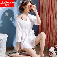 Nightdress Brief printing white S,M,L,XL sexy Middle sleeve pajamas Short skirt summer Solid color youth Shirt collar Polyester (polyester) More than 95% Satin Chiffon JY191SY6021 200g and below