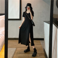 Dress Summer 2021 black M,L,XL longuette singleton  Short sleeve commute Crew neck Loose waist Solid color Princess Dress routine 18-24 years old Type H Other / other 31% (inclusive) - 50% (inclusive) other cotton
