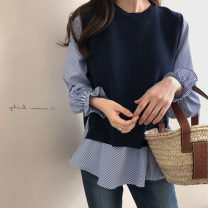 Women's large Autumn 2020 Black Vest + white shirt, Blue Vest + striped shirt, gray Vest + white shirt Large XL, large XXL, large XXXL, large XXXXL, large L, one size (suitable for 80-120 kg) shirt Two piece set commute Straight cylinder moderate Socket Long sleeves Solid color Korean version other
