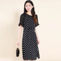 Dress Summer 2021 White dot on black background, white flower on black background L,XL,2XL,3XL,4XL Other / other 2138XYF 51% (inclusive) - 70% (inclusive) polyester fiber
