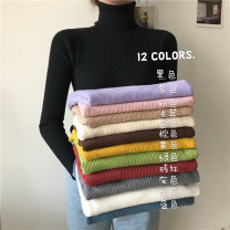 Wool knitwear Autumn of 2019 Average size Long sleeves singleton  Socket Viscose 71% (inclusive) - 80% (inclusive) have cash less than that is registered in the accounts routine commute Self cultivation High collar routine Solid color Socket Korean version 18-24 years old Other / other