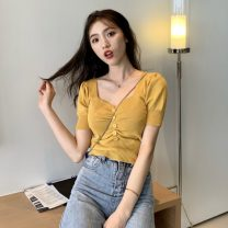 T-shirt Apricot, white, purple, red, yellow, black, fruit green Average size Summer 2020 Short sleeve V-neck Self cultivation have cash less than that is registered in the accounts puff sleeve commute Viscose 51% (inclusive) - 70% (inclusive) 18-24 years old Korean version originality Solid color