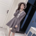 Dress Autumn 2020 grey S,M,L,XL Short skirt singleton  Long sleeves commute V-neck High waist Solid color Big swing routine Others 18-24 years old Type H Other / other lady Button 51% (inclusive) - 70% (inclusive) Wool