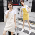 Dress Summer 2021 Off white, yellow S,M,L,XL Miniskirt Two piece set Short sleeve commute Crew neck middle-waisted Solid color Socket A-line skirt routine straps 18-24 years old Type A Other / other Korean version straps 81% (inclusive) - 90% (inclusive) Denim cotton