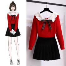 Fashion suit Autumn 2020 S,M,L,XL Red dress + black dress, single red dress, single black dress 18-25 years old