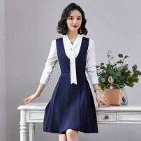 Dress 25-29 years old 1901210 Triangular core zipper Long sleeve Middle-skirt Two piece set A-line skirt V-neck High waist Autumn 2020 Type A commute routine Solid color straps Korean version Vinylon 91% (inclusive) - 95% (inclusive) S,M,L,XL,2XL,3XL,4XL