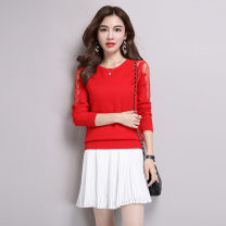 sweater Autumn 2021 S,M,L,XL,2XL,3XL Red, gray, black Long sleeves Socket singleton  Regular other 30% and below Crew neck Regular commute routine Solid color Self cultivation Regular wool Keep warm and warm Poetry of ainerei Lace