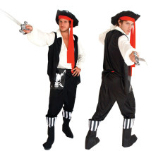 Clothes & Accessories Happy party Pirate suit (recommended height 165-175cm) pirate knife pirate gun pirate hook Halloween Pirate Captain Adult skeleton pirate Yes