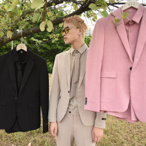Suit Youth fashion Ichulb Black, apricot, pink M29 spot, L30 spot, xl31 spot, 2xl32 spot, 3xl34 spot routine Flat lapel No slits autumn Self cultivation A single breasted button Other leisure youth tide Regular collar (collar width 7-9cm) 2019 Solid color Fusible interlining process other other