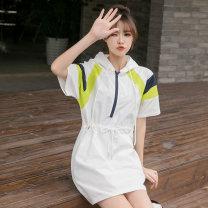 Dress Summer 2020 white S,M,L,XL,2XL Mid length dress singleton  Short sleeve commute Hood High waist Socket A-line skirt routine Type H Korean version 213# cotton