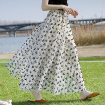 skirt Summer 2021 The skirt length is 80cm, 90cm and 100cm Black, apricot, white longuette Versatile High waist A-line skirt Broken flowers Type A 18-24 years old More than 95% Shi Zitong Flocking, gauze