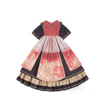 Dress Autumn 2020 Full skirt in stock, full skirt in stock S,M,L Mid length dress singleton  Short sleeve Sweet other High waist Cartoon animation Socket A-line skirt other Others 18-24 years old Type A Sunyoutee / sanyeting Bow, ruffle, Auricularia auricula, stitching, printing Lolita