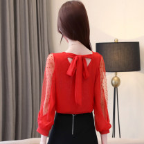 Lace / Chiffon Spring of 2019 Red, white, black [short skirt] S,M,L,XL,2XL Long sleeves commute Socket singleton  easy Regular Crew neck Solid color routine 25-29 years old Korean version 81% (inclusive) - 90% (inclusive) polyester fiber