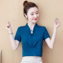 Lace / Chiffon Summer 2020 Dark green, sky blue, lake blue, red, fruit green, black [skirt] S,M,L,XL,2XL,3XL Short sleeve commute Socket singleton  easy Regular V-neck Solid color shirt sleeve 25-29 years old Bowknot, diamond, lace, stitching, button Korean version 81% (inclusive) - 90% (inclusive)