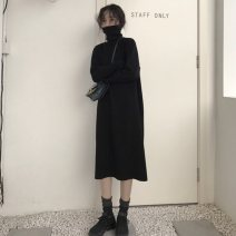Dress Winter 2020 Black, apricot S,M,L,XL,2XL Mid length dress singleton  Long sleeves commute High collar High waist Solid color Socket A-line skirt routine Others 18-24 years old Type A Other / other Korean version Splicing 71% (inclusive) - 80% (inclusive) polyester fiber