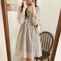 Dress Winter 2020 Apricot S,M,L,XL,2XL Short skirt singleton  Long sleeves Sweet square neck High waist Broken flowers Socket A-line skirt routine Others 18-24 years old Type A Other / other Button, button 51% (inclusive) - 70% (inclusive) polyester fiber Mori