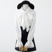 shirt white S,M,L,XL Spring 2021 other 31% (inclusive) - 50% (inclusive) Long sleeves commute Regular Doll Collar Single row multi button pagoda sleeve Solid color 18-24 years old Straight cylinder Korean version Cast 639-862 lace ribbon