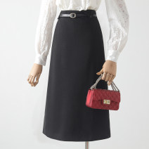 skirt Winter 2020 S,M,L,XL Black, brown longuette commute High waist A-line skirt Solid color Type A 18-24 years old 31% (inclusive) - 50% (inclusive) Qin Yao zipper Korean version