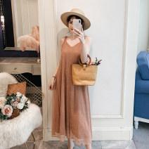 Women's large Summer 2020 Leather Pink bright silk dress Large XL, large 2XL, large 3XL, large 4XL, large 5XL Dress singleton  Sweet easy moderate Socket Sleeveless V-neck Medium length TUBINGJIE6.1# 18-24 years old Medium length
