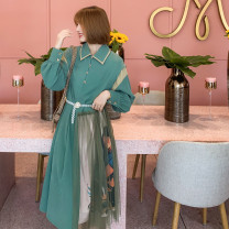 Dress Spring 2020 Green bean paste act S,M,L,XL Mid length dress singleton  Long sleeves commute Polo collar Loose waist Abstract pattern Three buttons Irregular skirt shirt sleeve Others Type H kookastyle Retro Stitching, buttons, mesh, printing other