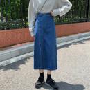 skirt Autumn 2020 S,M,L Dark blue, light blue Mid length dress Versatile High waist A-line skirt Solid color 18-24 years old Denim