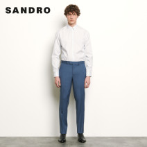 Casual pants SANDRO Youth fashion Blue grey 46 44 42 40 38 36 trousers wedding Straight cylinder SHPPA00515 Wool 100% Spring 2020