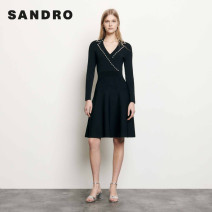 Dress Autumn of 2019 black 34 36 38 40 42 Middle-skirt 25-29 years old SANDRO SFPRO00514 31% (inclusive) - 50% (inclusive) nylon Same model in shopping mall (sold online and offline)
