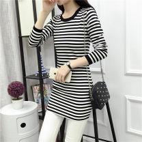T-shirt Red, stripe 1-1 black collar, stripe 1-3 black collar, black + black collar, stripe 1-3 white collar, stripe 1-1 red sapphire blue, stripe 1-1 green sapphire blue, stripe 1-1 Khaki sapphire blue, stripe red black + beibai, black apricot S,M,L,XL,2XL,3XL Spring 2021 Long sleeves Crew neck A14