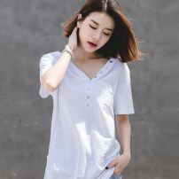 T-shirt White, black, light sky blue, light brown, green gray, emerald green S,M,L,XL,2XL,3XL Summer 2021 Short sleeve V-neck easy Regular routine commute cotton 96% and above 18-24 years old Korean version youth Solid color Cotton of cotton EY-F0016 Pocket, button, fold, original design