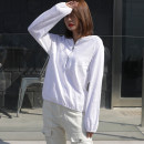 T-shirt white S,M,L,XL,2XL Spring 2021 Long sleeves V-neck easy Regular bishop sleeve commute cotton 96% and above 18-24 years old Korean version youth Geometric pattern, solid color Cotton of cotton EY-F0379 Pleat, zipper, hood, original design