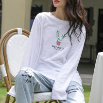 T-shirt white S,M,L,XL,2XL Spring 2021 Long sleeves Crew neck easy Medium length routine commute cotton 96% and above 18-24 years old Korean version originality Plants, flowers, letters Cotton of cotton EY-F0577 Printed, 100% cotton, original design