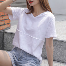 T-shirt White, taro purple S,M,L,XL,2XL Summer 2021 Short sleeve Hood easy Regular routine commute cotton 96% and above 18-24 years old Korean version youth Solid color Cotton of cotton