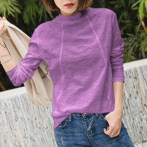 T-shirt Khaki, white, black, gray, purple, dark red, lotus root pink, Wisteria S,M,L,XL,2XL Spring 2021 Long sleeves High collar easy Regular routine commute cotton 96% and above 18-24 years old Korean version youth Solid color Cotton of cotton EY-F0138 100% cotton, fashionable lines, original design