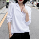 T-shirt white S,M,L,XL,2XL Spring 2021 Long sleeves V-neck easy Regular routine commute cotton 96% and above 18-24 years old Korean version youth Solid color Cotton of cotton F0365H Curling process, original design