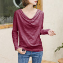 T-shirt S,M,L,XL,2XL,3XL Spring 2021 Long sleeves V-neck easy Regular routine commute cotton 96% and above 18-24 years old Korean version youth Solid color Cotton of cotton