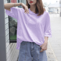 T-shirt White, taro purple S,M,L,XL,2XL Summer 2021 Short sleeve Hood easy Medium length raglan sleeve commute cotton 96% and above 18-24 years old Korean version youth Solid color Cotton of cotton EY-F0532
