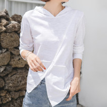 T-shirt White, light gray, black, maple red, mustard green, warm yellow S,M,L,XL,2XL Spring 2021 Long sleeves Hood easy Regular routine commute cotton 96% and above 18-24 years old Korean version youth Solid color Cotton of cotton EY-F0905 Asymmetric, stitching, curling, split, original design