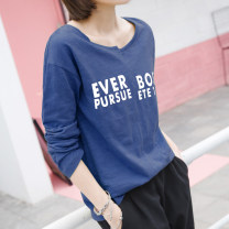 T-shirt S,M,L,XL,2XL Spring 2021 Long sleeves Crew neck easy Regular routine commute cotton 96% and above 18-24 years old Korean version youth Letters, numbers Cotton of cotton