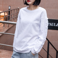T-shirt White, black, army green S,M,L,XL,2XL Spring 2021 Long sleeves Crew neck easy Regular routine commute cotton 96% and above 18-24 years old Korean version youth Solid color Cotton of cotton EY-F0335H Ruffle, original design