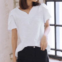 T-shirt white S,M,L,XL,2XL Summer 2021 Short sleeve V-neck easy Regular Lotus leaf sleeve commute cotton 96% and above 18-24 years old Korean version youth Solid color Cotton of cotton Ruffle, fashion design, 100% cotton