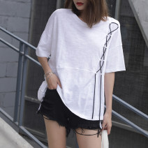 T-shirt white S,M,L,XL,2XL Summer 2021 Short sleeve Crew neck easy Regular routine commute cotton 96% and above 18-24 years old Korean version youth Solid color Cotton of cotton EY-F0369 Lace up, fashion design, 100% cotton