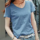 T-shirt S,M,L,XL,2XL,3XL,4XL Short sleeve V-neck easy Regular routine commute cotton 96% and above 18-24 years old Korean version youth Solid color