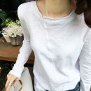T-shirt White, black S,M,L,XL,2XL,3XL Spring 2021 Long sleeves Crew neck easy Regular routine commute cotton 96% and above 18-24 years old Korean version love Solid color Show thin