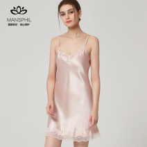 Nightdress Spring 2018 Silk 95% polyurethane elastic fiber (spandex) 5% Pure e-commerce (online sales only) camisole Mansphil / Mansfield Short skirt V-neck Solid color summer silk sexy silk pajamas youth 17N20-123# 81% (inclusive) - 95% (inclusive) 200g and below 155(S) 160(M) 165(L)