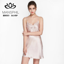 Nightdress Mansphil / Mansfield 155(S) 160(M) 165(L) sexy camisole pajamas Short skirt summer Solid color youth silk More than 95% silk 200g and below Spring 2017 Mulberry silk 100%