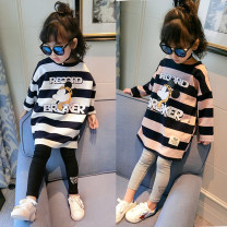 T-shirt Other / other female spring and autumn Long sleeves Crew neck leisure time There are models in the real shooting nothing cotton stripe Other 100% Class B other 18 months, 2 years, 3 years, 4 years, 5 years