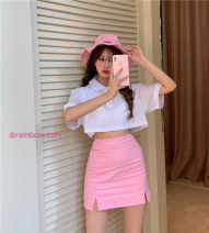 Fashion suit Summer 2021 S,M,L,XL White T-shirt, pink skirt 18-25 years old Other / other 30% and below