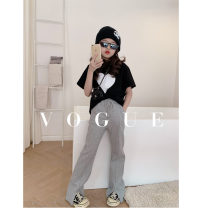 T-shirt White, black Other / other 110cm,120cm,130cm,140cm,150cm,160cm female summer Crew neck There are models in the real shooting cotton Solid color Cotton 100% Chinese Mainland