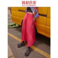 skirt Summer 2020 S,M,L rose red Mid length dress High waist Pleated skirt 18-24 years old DM0022. More than 95% Hstyle / handu clothing house polyester fiber