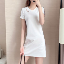 Women's large Summer 2021 White, black S [80-90] Jin, m [90-100] Jin, l [100-120] Jin, XL [120-140] Jin, 2XL [140-160] Jin, 3XL [160-180] Jin, 4XL [180-200] Jin Dress singleton  commute easy thin Socket Short sleeve Solid color Korean version V-neck Medium length Cotton, others printing and dyeing